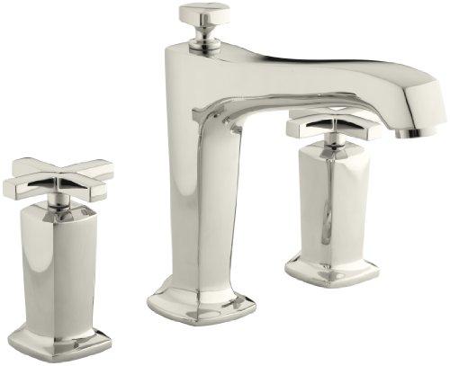 KOHLER K-T16237-3-SN Margaux Deck-Mount High-Flow Bath Faucet Trim with Cross Handles, Valve Not Included, Vibrant Polished Nickel (Cross Valve Deck Handle)