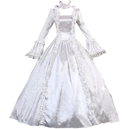 Cheap Victorian Dress (Partiss Women Vintage Floor-length Gothic Victorian BallGown Dress,M,White)