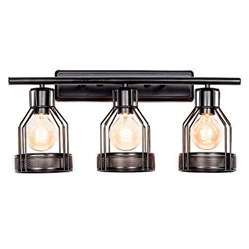 (3 Vanity Lights Industrial Lighting, Bathroom Indoor Cage Light Fixture, Metal Shade with Black Finish,Vintage Wall Sconces Home Retro Lights(Bulb Not Included) (Black))