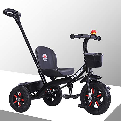 Trike for 3 Year Old Handle Kids Tricycle Children Pedal Smart Design 3 Wheeler,Toddlers Children Ride Pedal Trike Bike Metal Frame 18 Months to 5 Years, Black