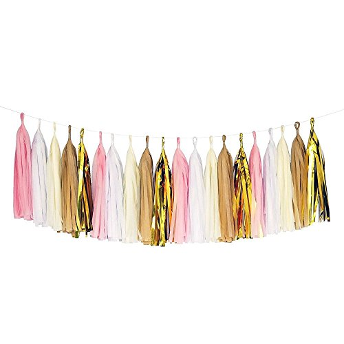 Pink White Ivory Tan Gold White Tassel Garland Banner Party Decoration Wedding from Unknown
