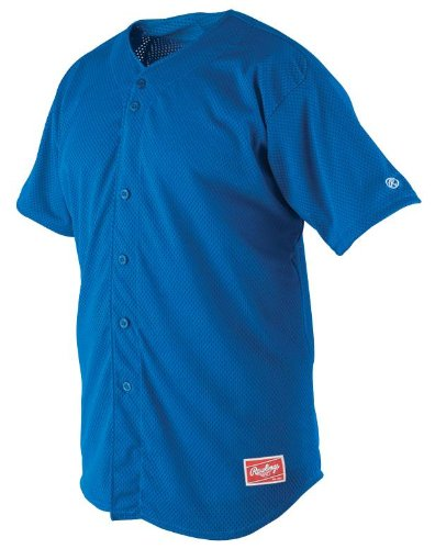 Heavy Baseball Jersey - Rawlings Men's Full Button RBJ167 Jersey , Royal, X-Large