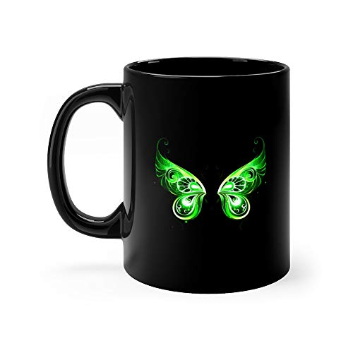 Green Fairy Wings Coffee Mug Ceramic Cup 11 Oz
