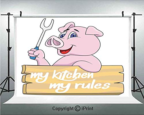 Kitchen Decor Photography Backdrops Pig Chef Holding BBQ Barbeque Fork Tongs Fast Food Mascot Character Grill Wood Menu,Birthday Party Background Customized Microfiber Photo Studio Props,7x5ft,Pink Wh ()