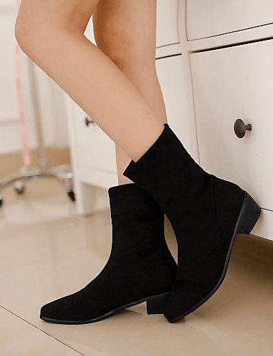 Negro Vellón Eu37 Punta Bajo Tacón Cn37 Mujer Zapatos Redonda Moda Vestido A 7 5 Botas La us6 Uk4 Black 5 De 5 Casual Xzz xnF6wOqw
