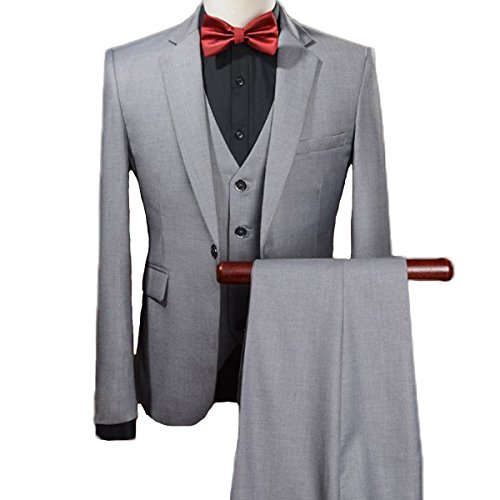 e Navy Suit Slim Fit One Button Solid Color Tuxedo Suit (Medium, Grey) ()