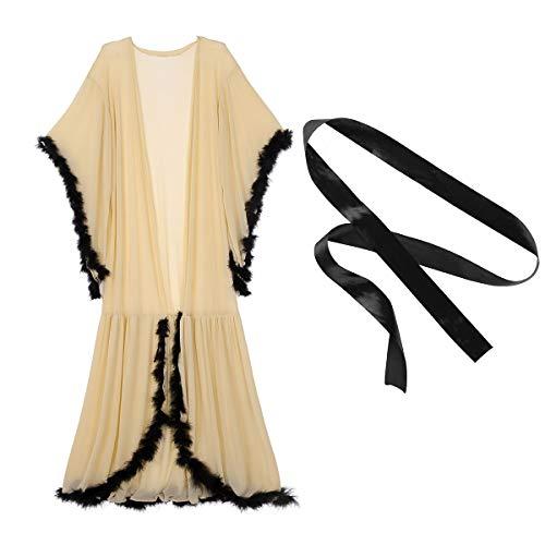 (TiaoBug Women's Sexy Sheer Long Lingerie Feather Robe Nightgown Bathrobe Pajamas Sleepwear Khaki One Size)