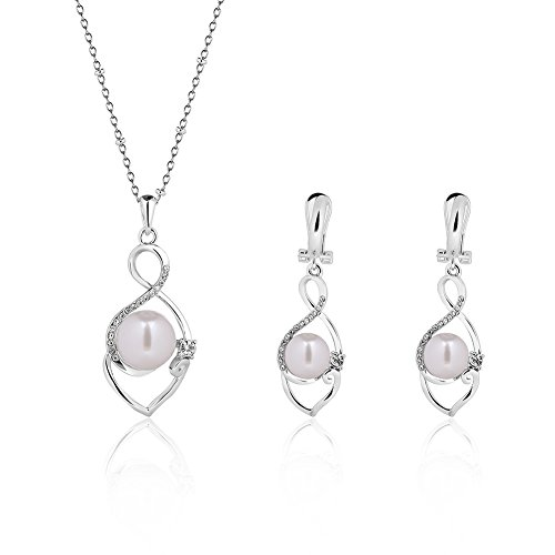 KUREAS 18K Gold/silver Plated Elegant Pearl Pendant Necklace Earring Set Crystal Jewelry Set for Women