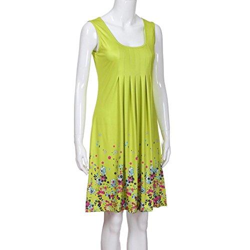 QinMM Mangas Amarillo Camisola para Fiesta Noche Vestido Suelta de Mujer Playa sin Floral de rO8Xrn4qw