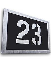 Graviers Design Huisnummer van V2A roestvrij staal, weerbestendig, roestvrij, individueel aanpasbaar volgens eigen nummer, made in Germany