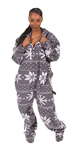 Forever Lazy Detachable Feet Adult Onesie - Fairisle Snowflake - L ()