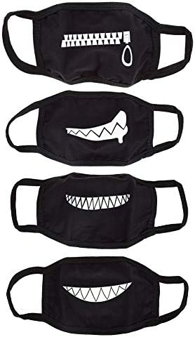 UTENEW Black Mouth Mask Anti Dust Face Covers 4 Pack Funny Teeth Pattern Cotton Mask Unisex