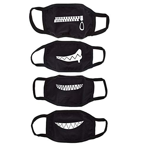 Big Mouth Halloween (UTENEW Black Mouth Mask Anti Dust Face Mouth Covers Mask 4 Pack Funny Teeth Pattern Cotton Mask)