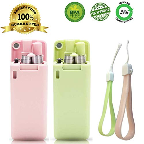 (Collapsible Reusable Straws with Case Flexible Stainless Steel Silicone Straws EcoFriendlyDrinking Straw Portable Set with Cleaning Brush and Keychain for Travel/Household/Outdoor (Pink/Green))