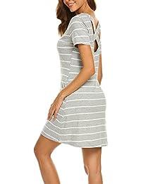 Women's Casual Striped Criss Cross Short Sleeve T Shirt...