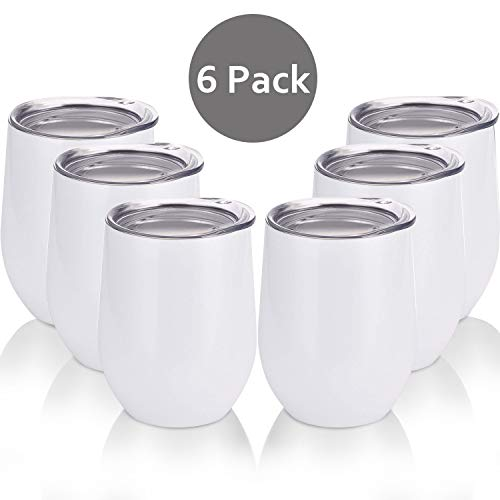 (Skylety 6 Pack 12 Oz Unbreakable Drink-Ware Stemless Wine Tumbler, Stainless Steel Triple-Insulated Vacuum Wine Glass Cup with Lids for Wine, Coffee, Champagne, Cocktails and Beer (White-1))
