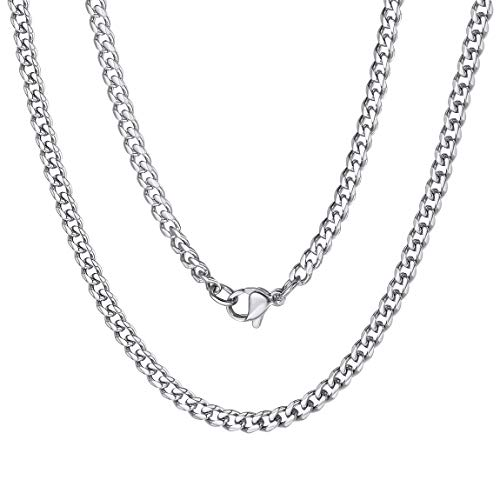 Women Men Cuba Jewellery 316l Stainless Steel Curb Cuban Link Chain 3mm 30inch
