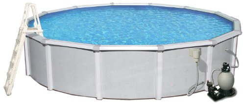 Blue Wave Samoan 27-ft Round 52-in Deep 8-in Top Rail Metal Wall Swimming Pool Package