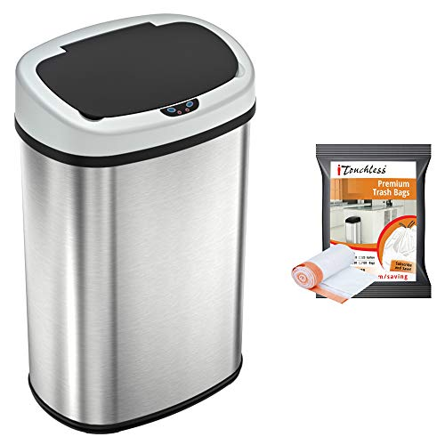 Itouchlessitouchless Automatic Oval Trash Can With 10 Trash Bags Big Lid Opening Touchless Sensor Kitchen Trash Bin 13 Gallon Stainless Steel Dailymail