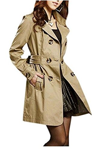 Lingswallow Women Elegant Double Breaste - Brown Trench Shopping Results