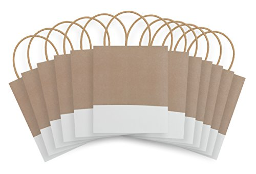 Eco Bags Recycled - The Gift Wrap Company Dipped Recycled Kraft Paper Gift Bags (Pack of 12), White