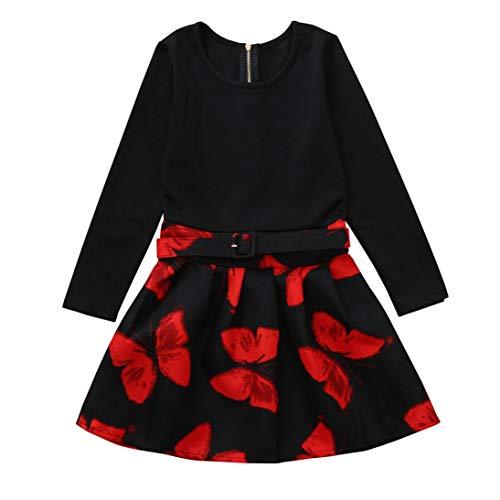 Clearance!! Girls Fashion Dress GoodLock Children Kids Long Sleeves Butterfly Print Princess Dress Sundress Clothes (Black, 8T) by GoodLock