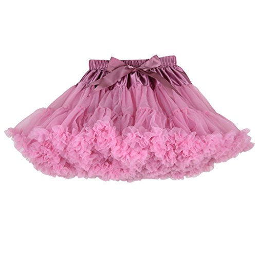 Buenos Ninos Girl's Solid Color Dance Tutu Pettiskirt Bean Pink 5-6T/100 -