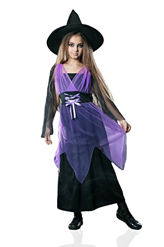 Kids Girls Evil Witch Costume Sorceress Enchantress Halloween Outfit & Dress Up (3-6 years, (Sorceress Witch Costume)