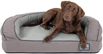 Better World Pets Super Comfort Bolster Dog Bed Waterproof Memory Foam Pet Bed with Durable Canvas Cover, Extra Plush Fleece Foam Bolsters 5 Inch Thick, Washable