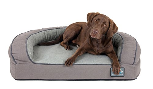 (Better World Pets Super Comfort Bolster Dog Bed :: Waterproof Memory Foam Pet Bed with Durable Canvas Cover, Extra Plush Fleece + Foam Bolsters :: 5 Inch Thick, Washable, Large, Wolf Grey)
