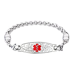 Divoti Deep Custom Laser Engraved Beautiful Olive Medical Alert Bracelet -Wheat Stainless -Red
