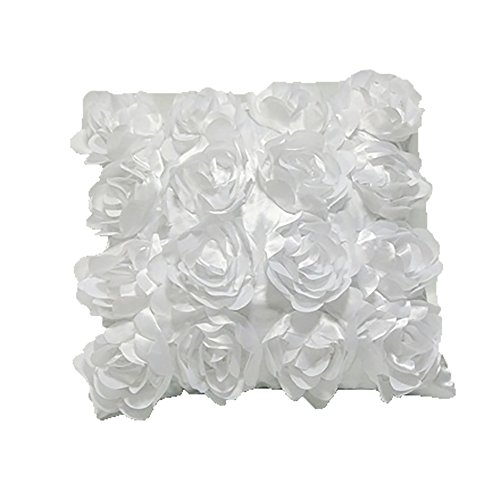 Rosetta Floral Ruffles Cushion Cover In 5 Colors (Cushion Pad Not Included) (17in x 17in) (White) (White Throw Pillow Ruffle)