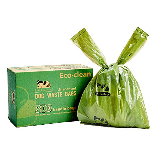 Eco-clean Dog Poop Bags, 300-Count Dog Waste Bags with Easy-Tie Handles, Guaranteed Leak-Proof, Earth-Friendly, Unscented OXO-Biodegradable Pet Poop Bags (Not on Rolls)