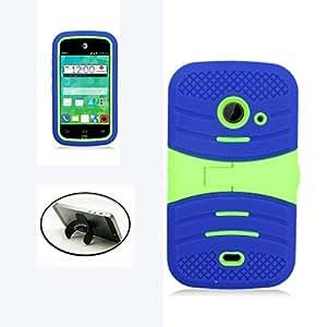 [STOP&ACCESSORIZE] BLUE GREEN DUAL LAYER SHELL KICKSTAND COVER RUBBER PLASTIC MOBILE PHONE CASE for ZTE PRELUDE 2 + FREE U KICKSTAND