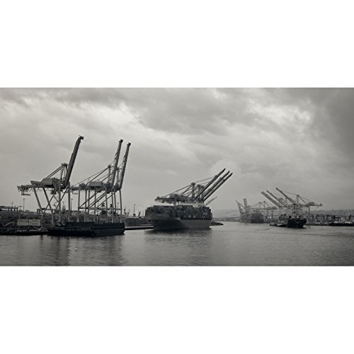 Ships Loading Freight in Seattle Harbor on a Gloomy Day Pacific Northwest Fine Art Photography Print