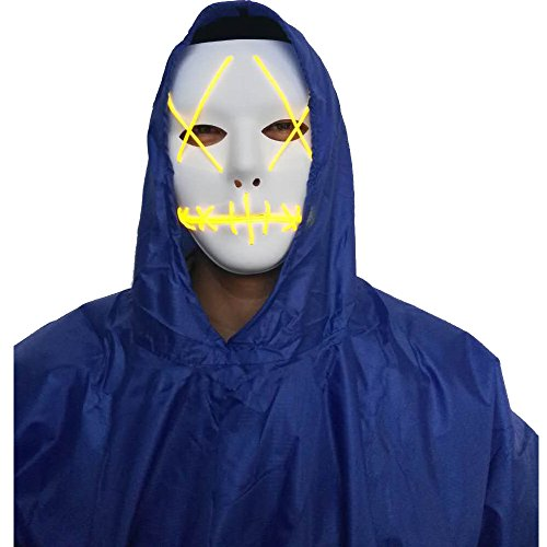 A-MORE Halloween Mask Cosplay LED Glow Scary EL Wire Light Up Grin Masks for Festival Parties Costume (Yellow) ()