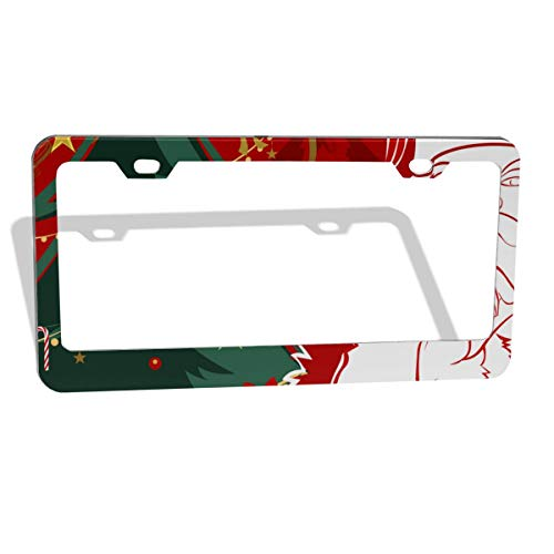 (Jksytx Personalized Flat & Round Hole Car License Plate Frame Christmas Santa ColourName)