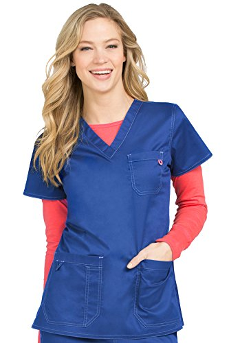 Med Couture Signature Women's V-Neck 3 Pocket Scrub Top, Galaxy Blue, 2X-Large from Med Couture