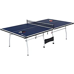 MD Sports NEW Official Size Table Tennis Table, with Paddle and Balls (Blue/White)