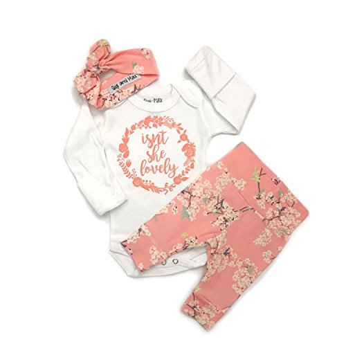 Gigi and Max Newborn Outfit 3 pc Pink Floral Isn't she Lovely Handmade Going Home Outfit Newborn ()