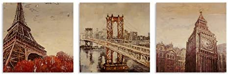 B BLINGBLING Modern Eiffel Tower Wall Painting: Eiffel Tower Brooklyn Bridge and London Big Clock 3 Piece Decoration