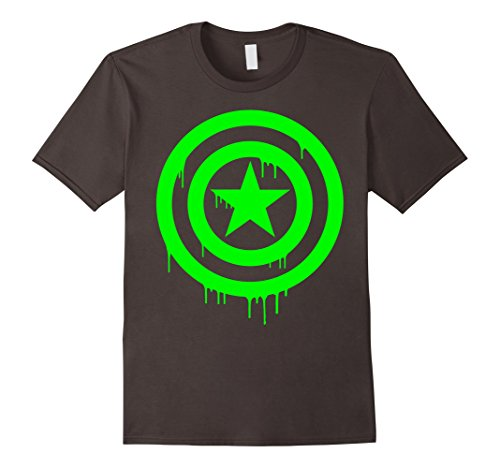 Dripping Shield - Mens Marvel Captain America Shield Dripping Green Ooze T-Shirt Medium Asphalt