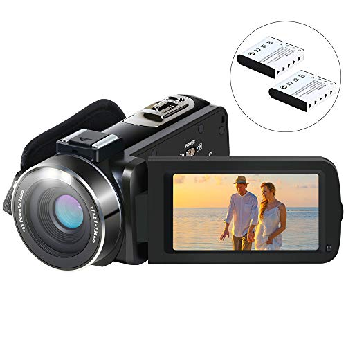 Video Camera Camcorder, Aabeloy YouTube Vlogging Camera HD 1080P 24.0MP 3.0 Inch LCD 270 Degrees Rotatable Screen 16X Digital Zoom Pause Function Digital Camera Recorder and 2 Batteries
