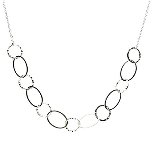 (Sterling Silver Large Flat and Hammered Oval Links Cable Chain Necklace 19