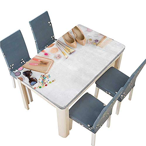PINAFORE Solid Tablecloth top View of Female Fashion Accessories Handbag Glasses Cosmetics Shoes Table Cover W73 x L112 INCH (Elastic Edge)