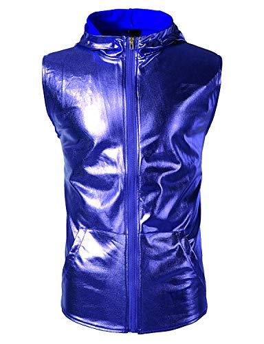 (ZEROYAA Men's Metallic Hipster Zip Up Hooded Vest T Shirt with Kangaroo Pocket Z106 Blue Medium)