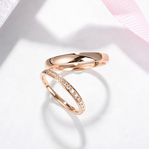 be90c9727d2f1 Amazon.com: Rose Gold wedding band His and Her Promise Rings Mens ...