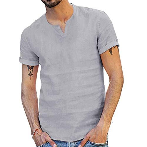 b51474bf4 ... T-Shirts for Men,Kiasebu V NeckT Shirts Mens Casual Pure Color Cotton  Linen