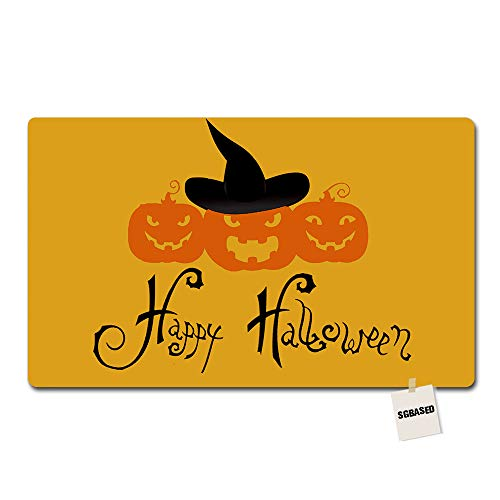 SGBASED Door Mat Funny Doormat Happy Halloween Pumpkin Mat Washable Floor Entrance Outdoor & Indoor Rug Doormat Non-Woven Fabric (30 X 18 inches)