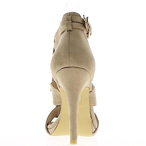 Talón sandalias taupe 11cm bridas aspecto gamuza y meseta